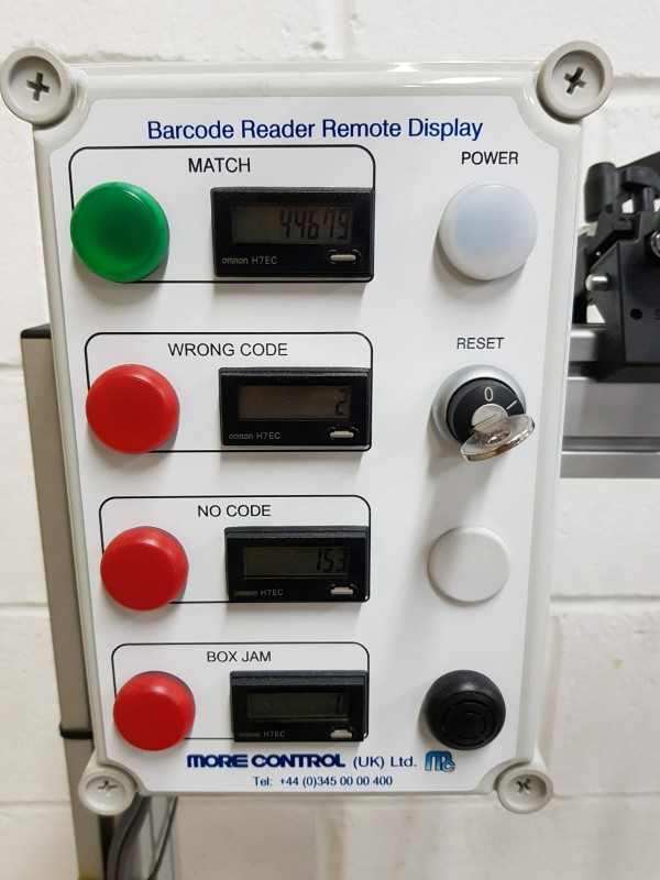 Control panel for barcode checking system